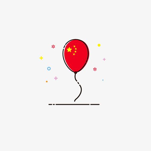 国庆节五星气球红色矢量图MBE