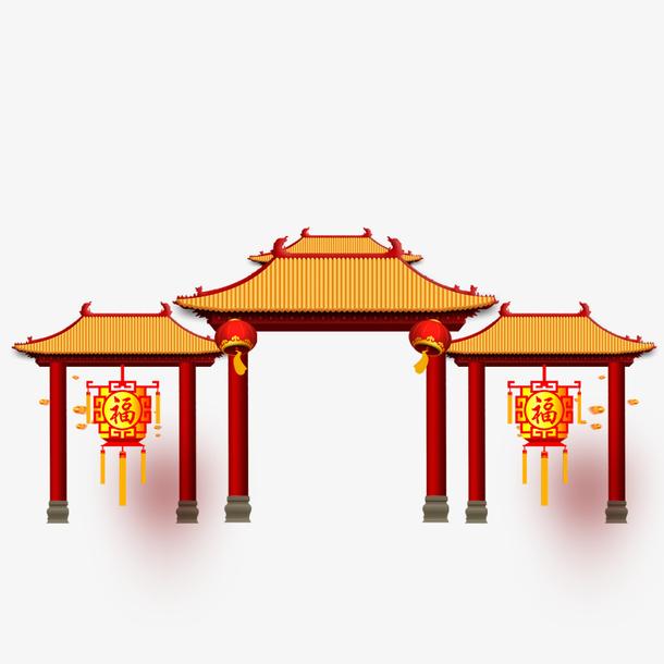 春节逛街大门素材下载