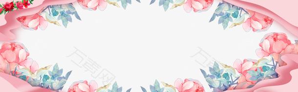 微立体花卉母亲节活动banner背景