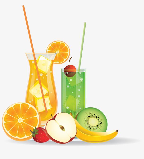 水果饮料夏天水果饮料矢量图