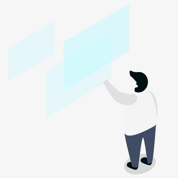 男人和高科技插画
