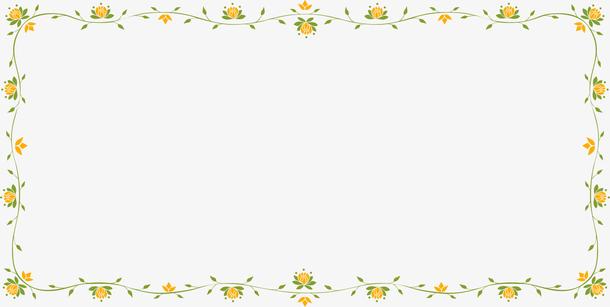 黄色花纹边框素材PNG矢量元素