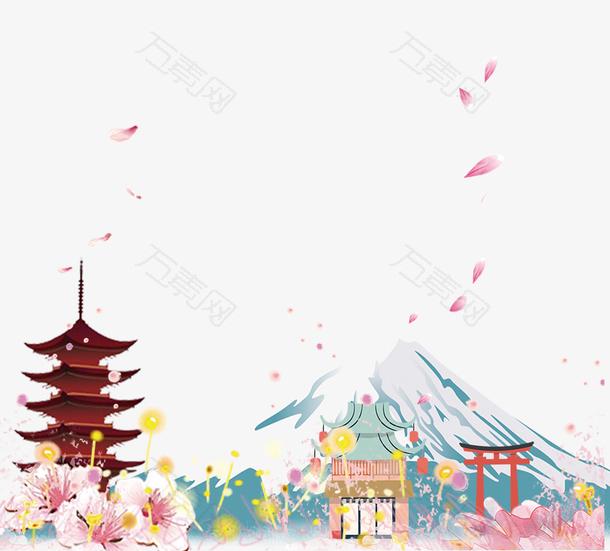 富士山浪漫樱花装饰