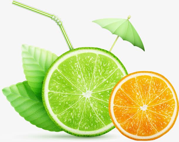 水果绿叶太阳伞
