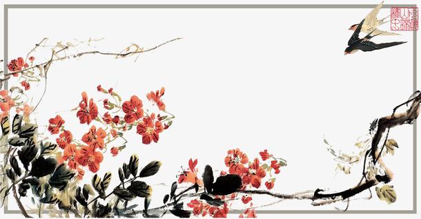 传统中国风古典花鸟草纸背景海报