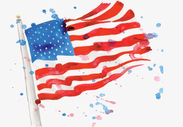 水彩手绘美国国旗