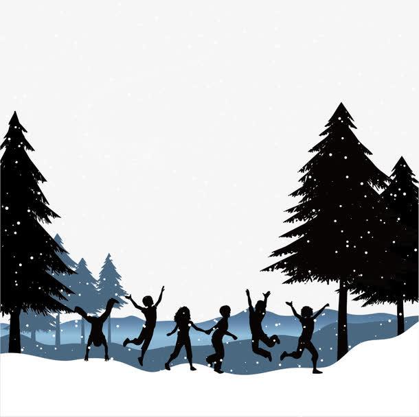 雪景冬季下雪矢量漫天飞雪素材