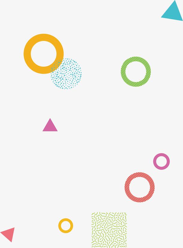 波普孟菲斯风格彩色圆环几何素材