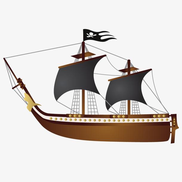 手绘复古帆船矢量设计素材