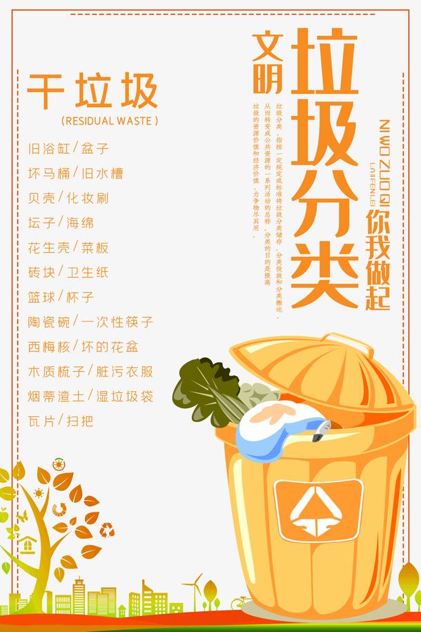 垃圾分类干垃圾分类环保垃圾分类