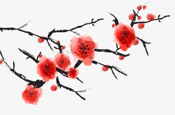 红色中国风手绘梅花
