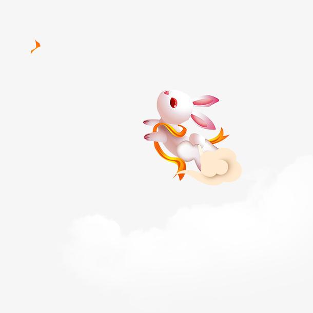 中秋节玩耍的玉兔卡通动漫