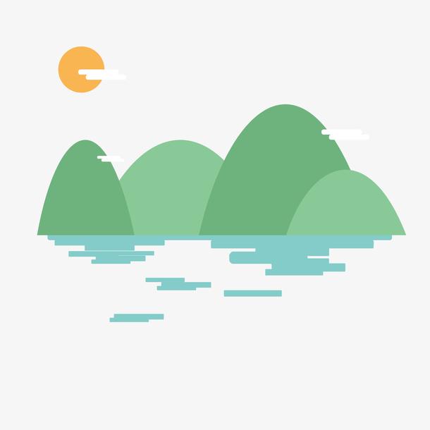 手绘卡通青山绿水背景