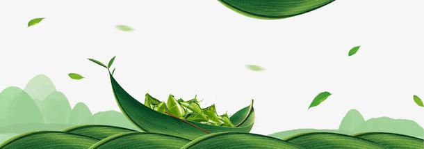 绿色清新端午节海报插画