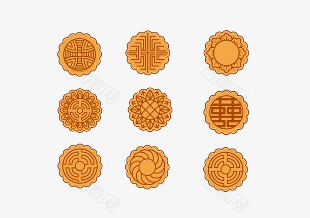 手绘中秋节月饼设计素材