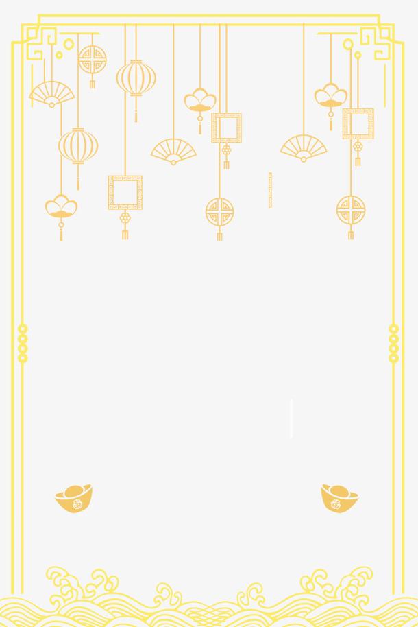 春节金色简约创意边框