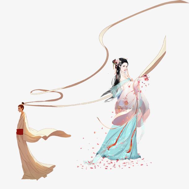 中国风手绘传统恩爱的古风情侣