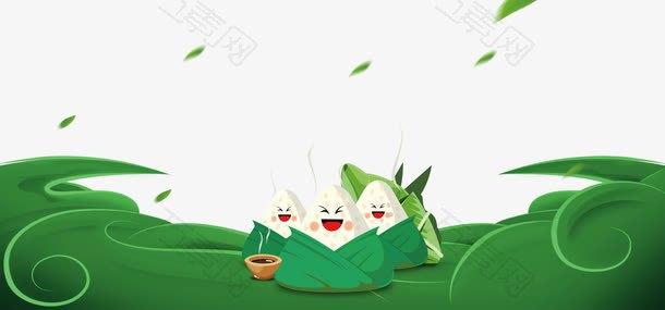 绿色清新文艺粽子端午海报