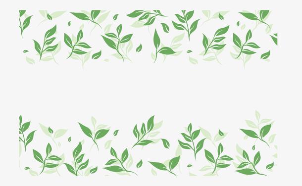 小清新绿色茶叶边框