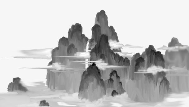 中国风重阳节手绘水墨风景