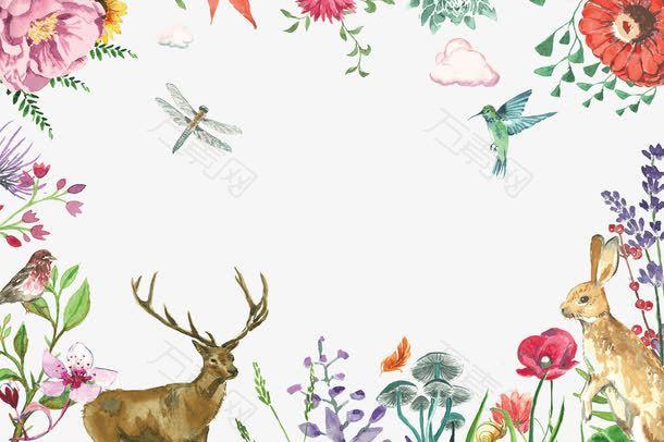 水墨动物花朵边框背景