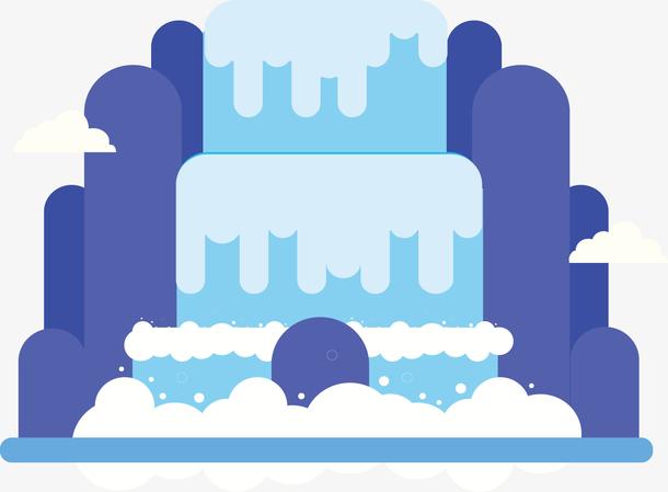蓝色小山流水瀑布