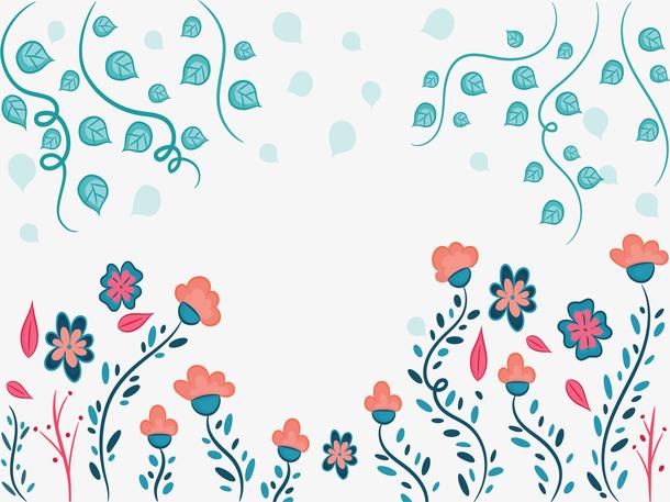 可爱花朵树叶边框