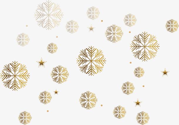 矢量手绘金色雪花
