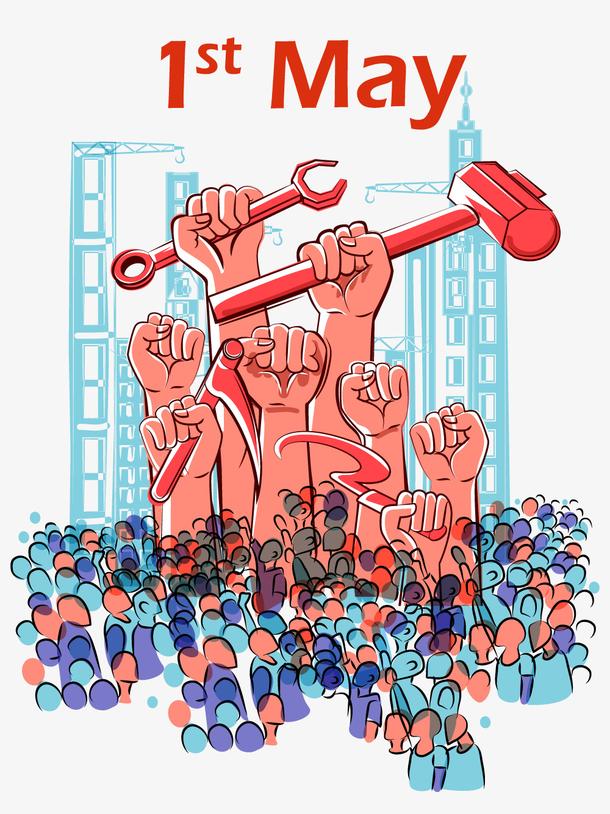 国际劳动节手绘元素