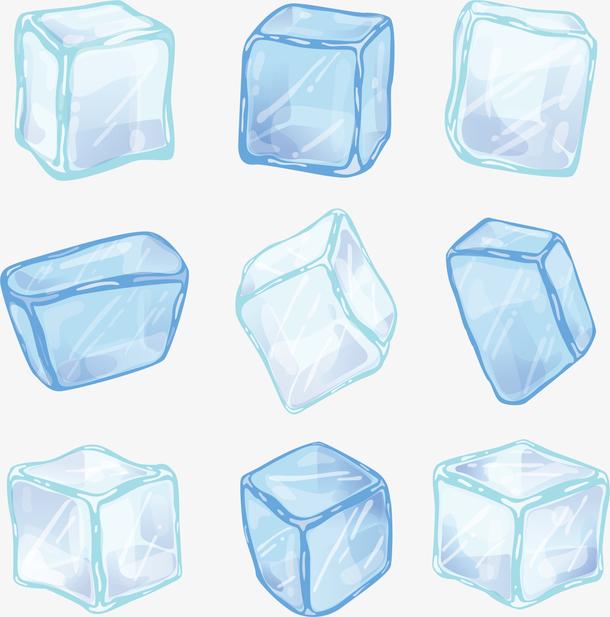 天蓝色卡通夏季冰块