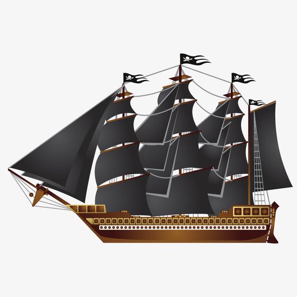手绘复古帆船工艺品矢量设计素材
