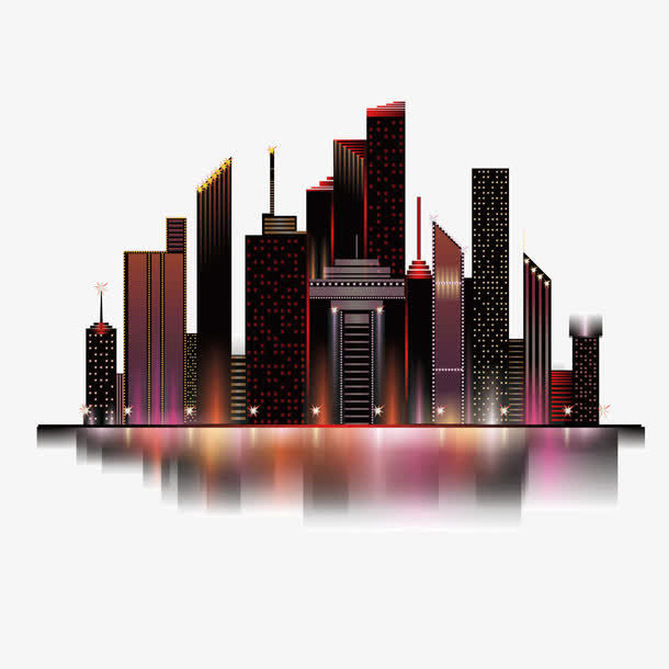矢量红色倒影炫彩建筑群城市夜空