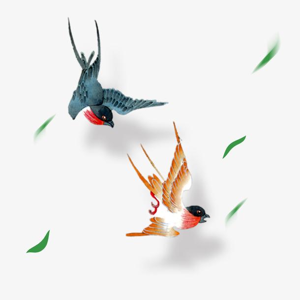清明节水墨风手绘燕子
