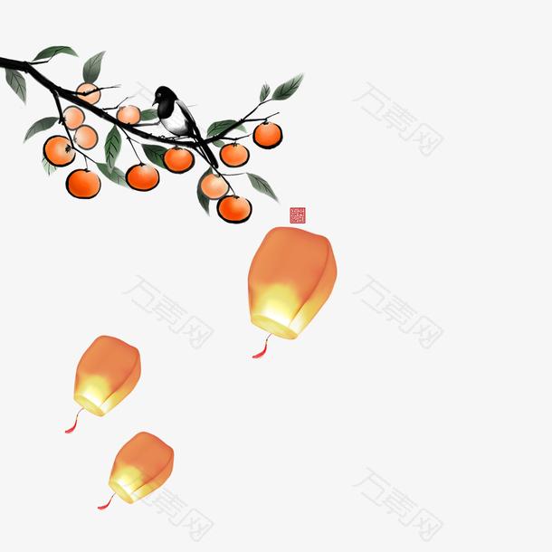 中国风古风画中秋灯笼柿树元素