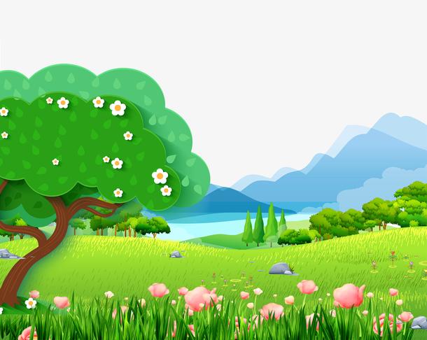 春天背景绿色草坪