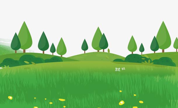 清明踏青绿色草地海报