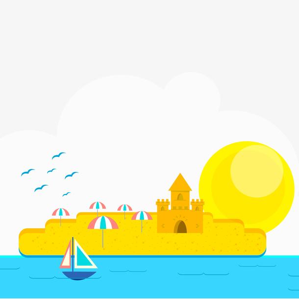 扁平化沙滩和大海风景矢量图