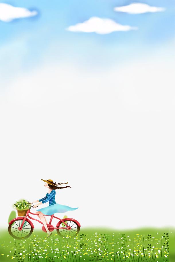 手绘春季蓝天与草地边框