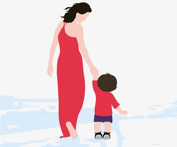 母亲节母亲手牵着孩子
