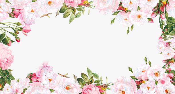 小清新玫瑰花边框创意设计