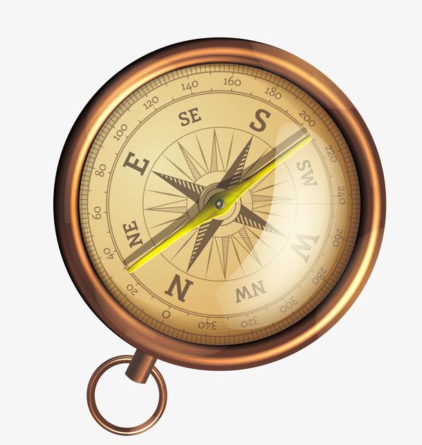手绘古铜色指南针