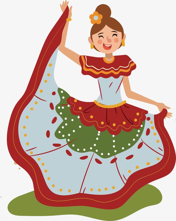 快乐舞会舞蹈小女孩矢量素材