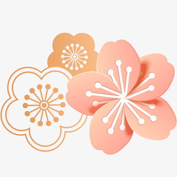 矢量装饰桃花花朵素材