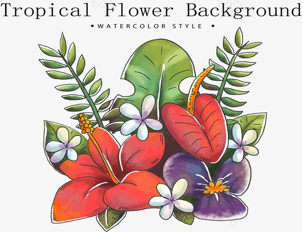 水彩绘热带花束花卉