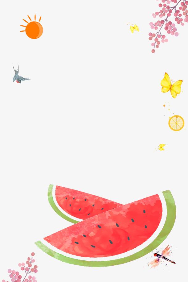红色手绘西瓜立夏宣传海报主题边