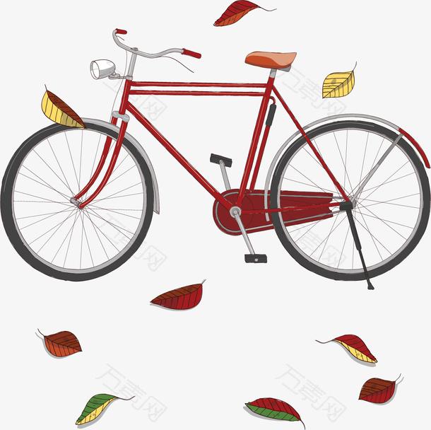 红色秋天落叶单车