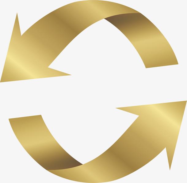 金色循环箭头矢量素材