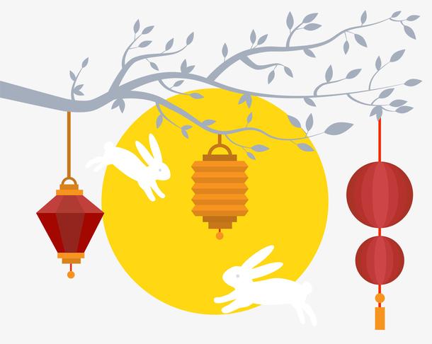 中秋节唯美月亮玉兔灯笼