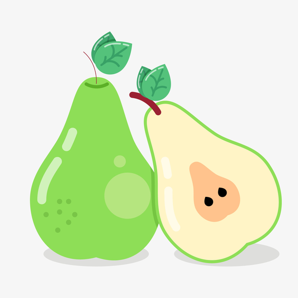 卡通绿色的梨设计