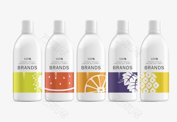 彩色女性瓶子包装